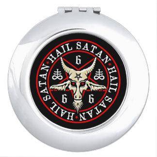 Hail Satan Baphomet Goat in Pentagram Compact Mirror