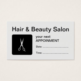 Hair & Beauty Salon Scissors Appointment Card
