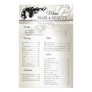 Hair Beauty Waxing Nails Treatment Price List Flyer