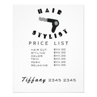 Hair Drier Geometric Hair Wave Stylist Price List Flyer