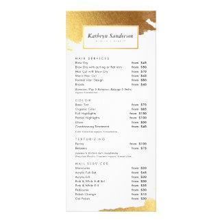 HAIR PRICE LIST luxe modern gilded gold edges Rack Card