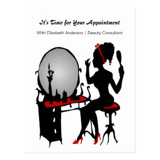 Hair Salon Appointment Reminder Red Shoes Woman Postcard