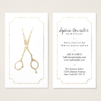 Hair stylist elegant faux gold scissors white chic business card