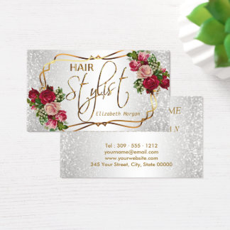 Hair Stylist in a White Glitter and Floral Business Card