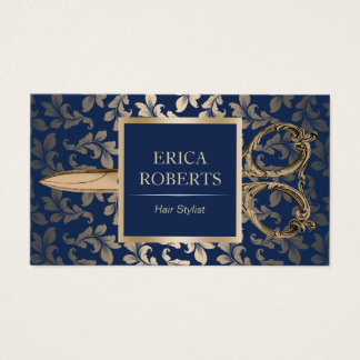 Hair Stylist Luxury Gold Scissor Elegant Navy Blue Business Card