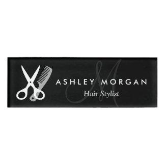 Hair Stylist Salon Black White Scissors Monogram Name Tag