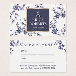 Hair Stylist Vintage Blue Floral Salon Appointment Business Card