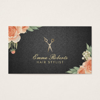 Hair Stylist Vintage Floral Elegant Black & Gold Business Card