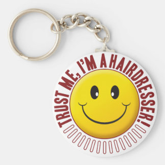 Hairdresser Trust Smiley Basic Round Button Key Ring