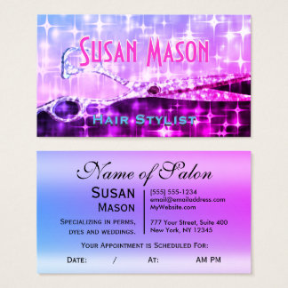 Hairstylist Girly Glam Glitter Business Card