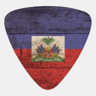Haiti Flag on Old Wood Grain Guitar Pick