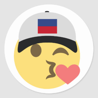 Haiti Hat Kiss Emoji Classic Round Sticker