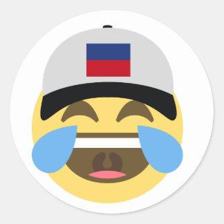 Haiti Hat Laughing Emoji Classic Round Sticker