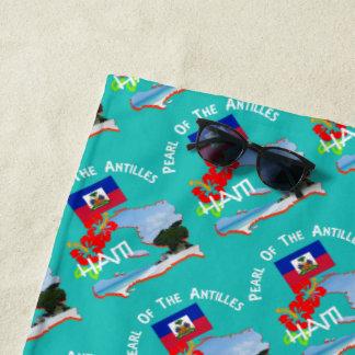 Haiti Hibiscus Flower & Map Sunny Vacation Beach Towel