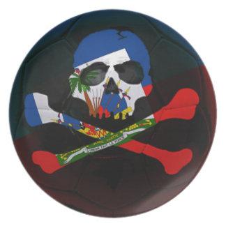 Haiti Skull Football Flag Plate