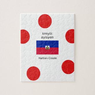 Haitian Flag And Creole Language Design Jigsaw Puzzle