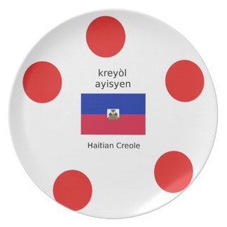 Haitian Flag And Creole Language Design Plate