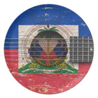 Haitian Flag on Old Acoustic Guitar Plate