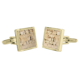 HaKotel - The Western Wall - Two Sections Gold Finish Cuff Links