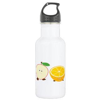 Half apple and half orange characters 532 ml water bottle