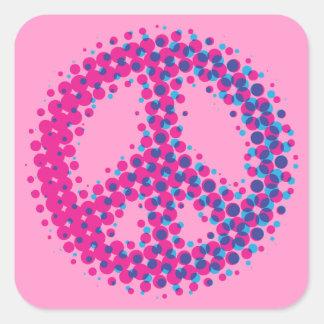 Halftone Peace Symbol Square Sticker