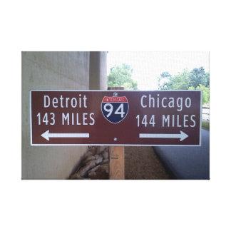 Halfway Between Detroit and Chicago. Canvas Print