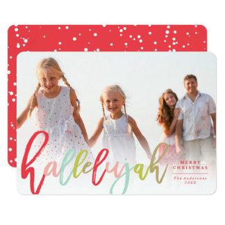 Hallelujah Brush Religious Christmas Photo Card