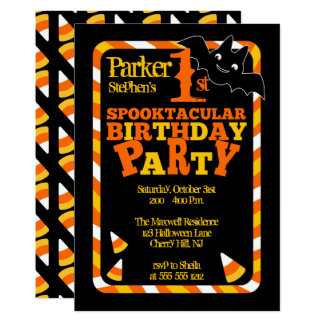 Halloween 1st Spooktacular Birthday Party 13 Cm X 18 Cm Invitation Card