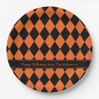 Halloween Argyle ~ Personalized Paper Plate
