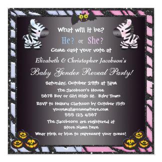 Halloween Baby Gender Reveal Zebras & Pumpkins 13 Cm X 13 Cm Square Invitation Card