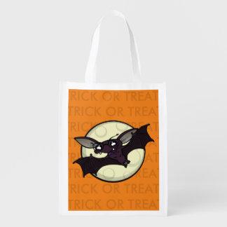 HALLOWEEN BAT TRICK OR TREAT REUSABLE TOTE BAG