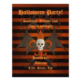 Halloween bat winged skull fleur de lis orange flyer