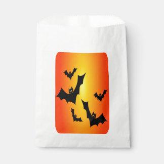 Halloween Bats, Black Bats on Orange, Treat Bag Favour Bags