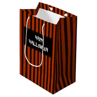 Halloween Black and Orange striped Medium Gift Bag