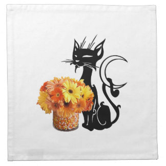 Halloween Black Cat and Candy Corn Napkin