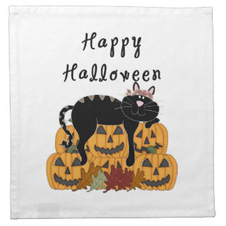 Halloween Black Cat and Pumpkins Napkin