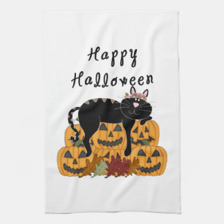 Halloween Black Cat and Pumpkins Tea Towel