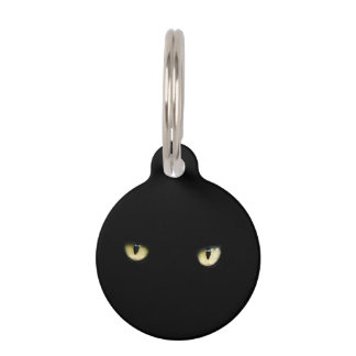 Halloween Black Cat Eyes Pet Tag