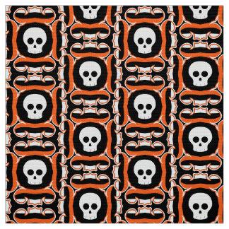 Halloween black orange and white skull pattern fabric