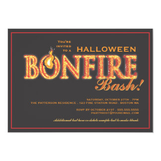 Halloween Bonfire Bash on Fire Party Invitation