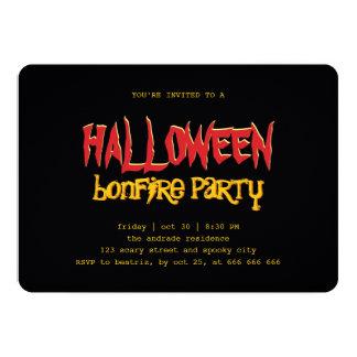 Halloween Bonfire Party Teen Outdoor Black Yellow Card