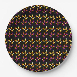 Halloween Candy Corn Pattern Paper Plate