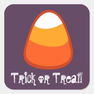 Halloween Candy Corn Trick or Treat Gift Purple Square Sticker