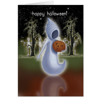 Halloween Card - Happy Halloween - Ghost With Pump