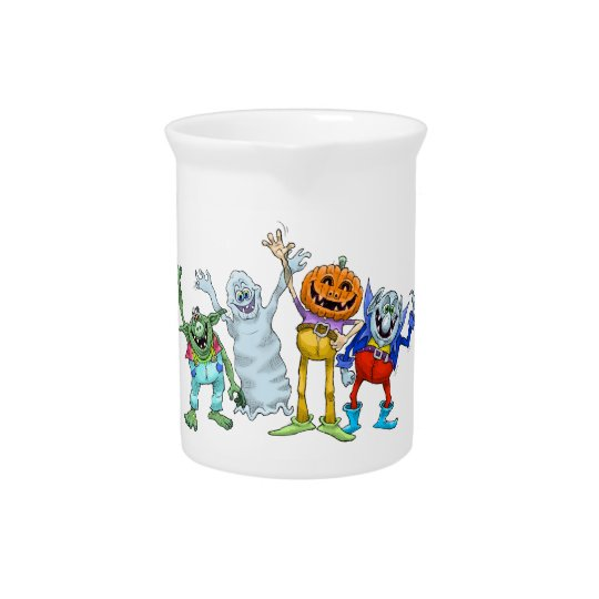 Halloween cartoon creatures waving, pitcher. beverage pitcher
