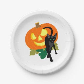 Halloween Cat and Pumpkin Paper Plate