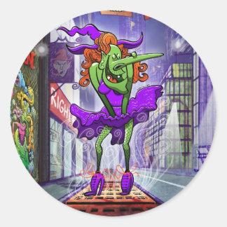 Halloween Charming Witch Round Sticker