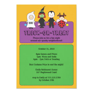 Halloween Costumes Trick or Treating Party 5x7 Paper Invitation Card