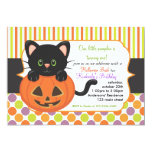 Halloween First Birthday Party Cute Pumpkin Cat Custom Announcements
