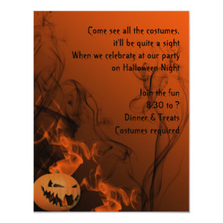 Halloween Flaming Pumpkin on Orange Invitation
